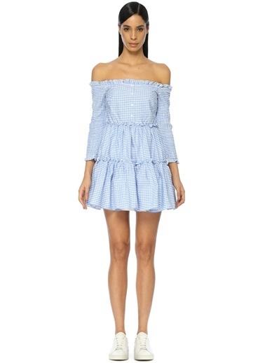 Kayık Yaka Kareli Mini Elbise-English Factory